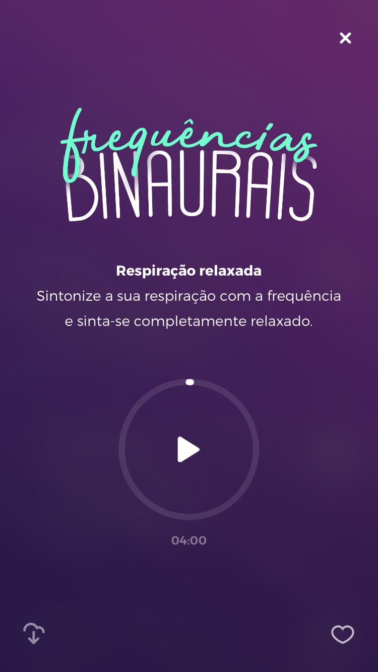 tela da meditação guiada frequencias binaurais para cultivar a felicidade do zen app
