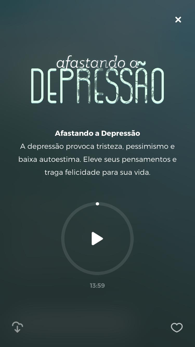 """tela da meditação guiada """"Afastando a depressão"""" disponível no Zen app para ajudar a diminuir a solidão"""