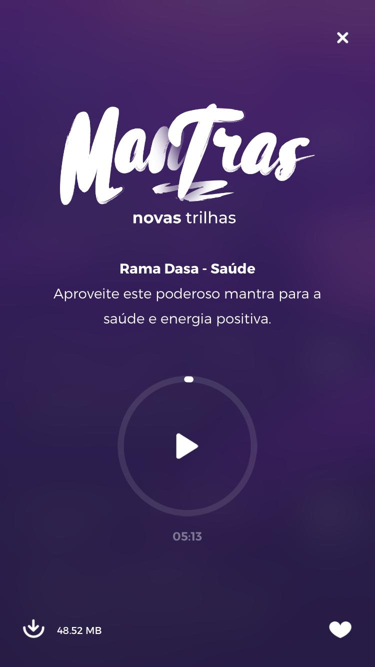 tela da meditação de mantras do Zen App