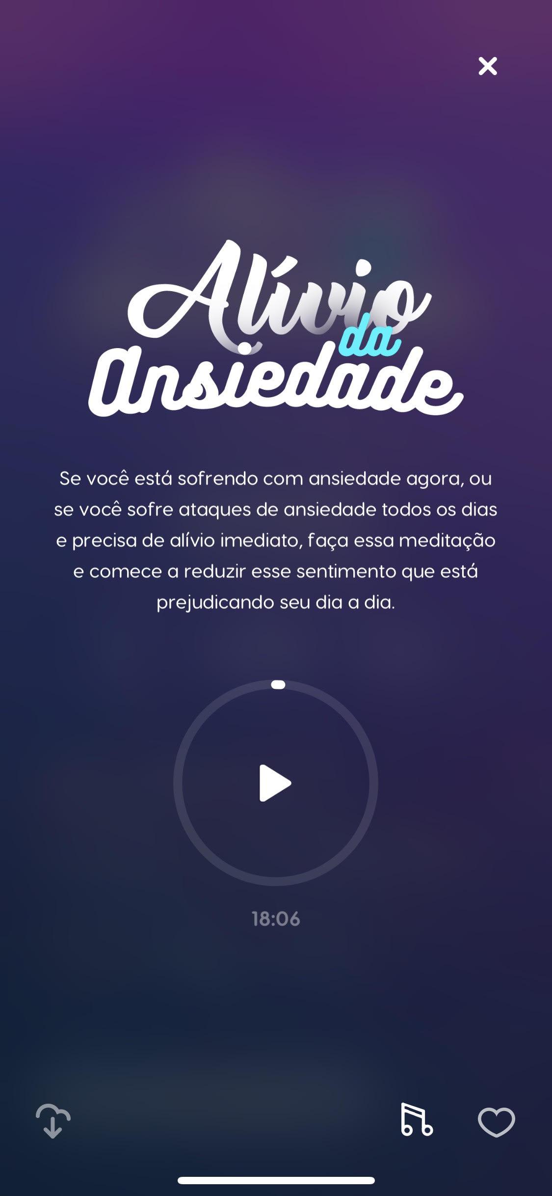 tela da meditação guiada alívio da ansiedade do Zen app