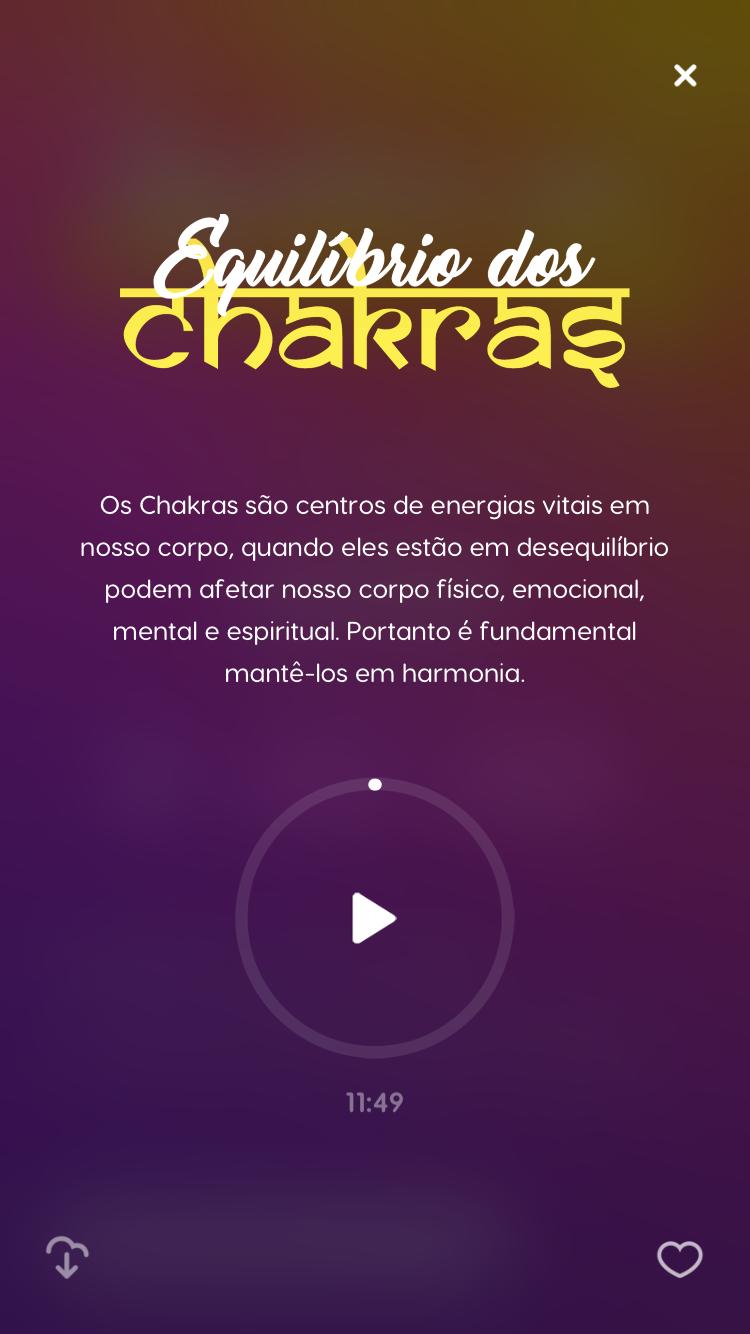 """tela da meditação guiada """"Equilíbrio dos Chakras"""""""