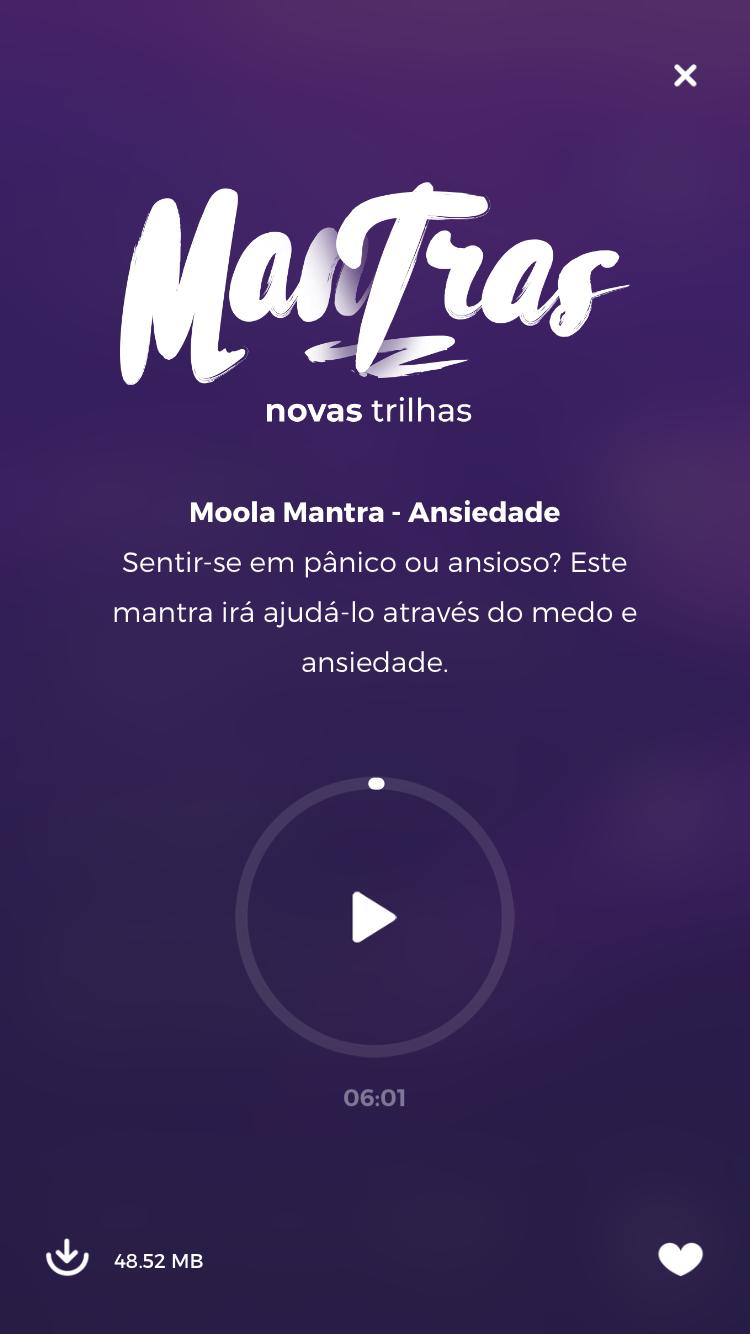 tela da música para relaxar do zen app sobre ansiedade da coleção de mantras