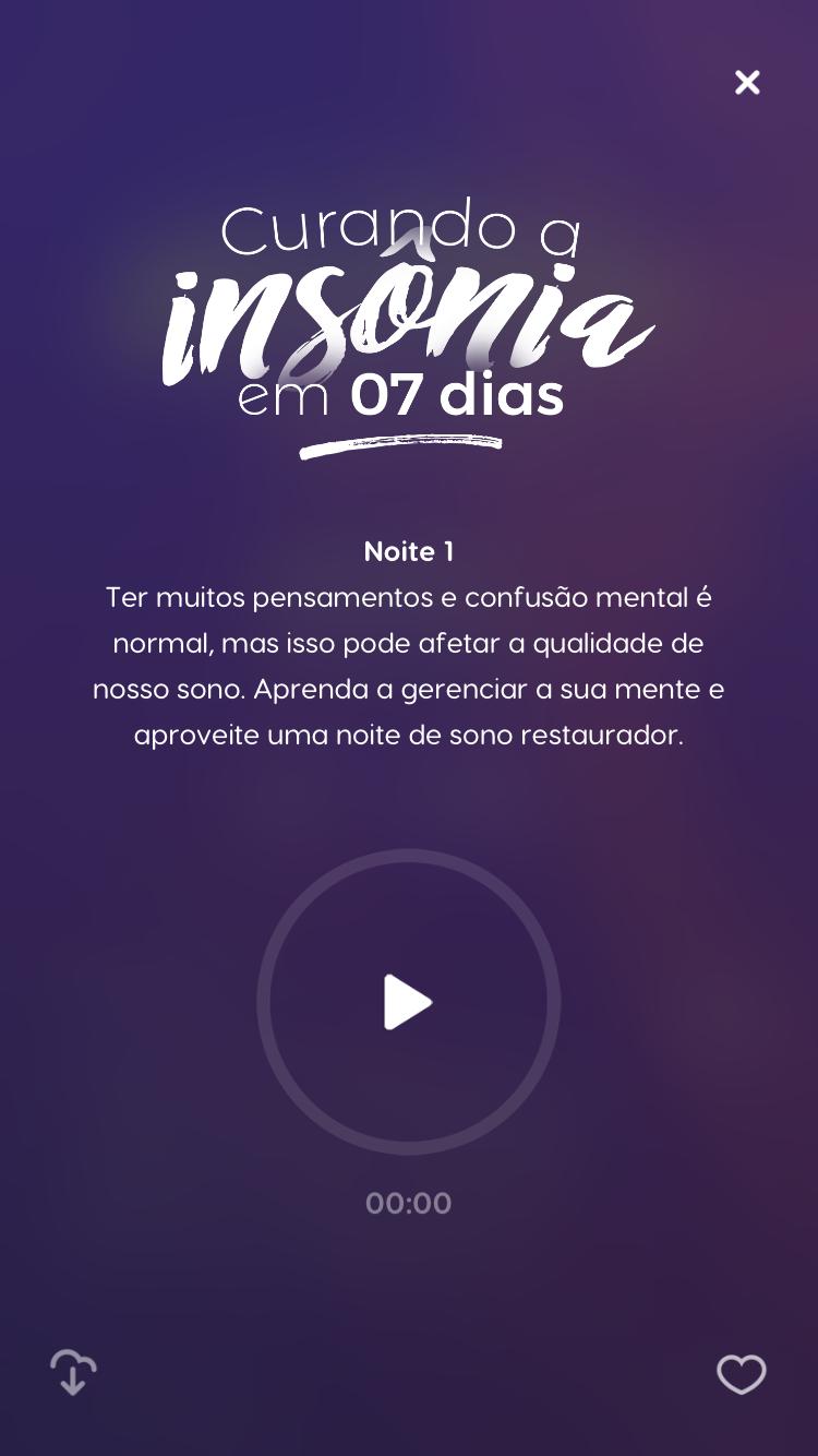 tela do programa de meditação Curando a insônia em 7 dias do Zen app que ajuda em como combater a insônia
