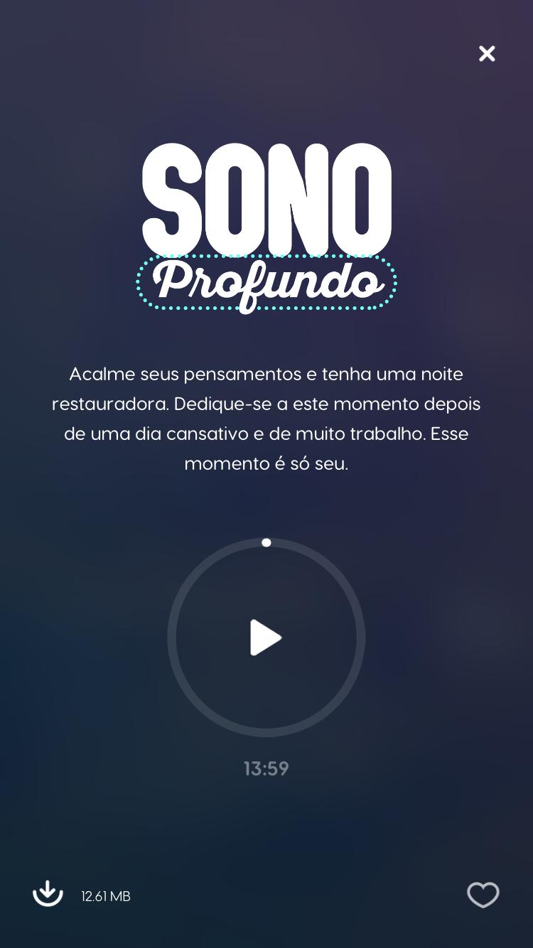 tela da meditação guiada sono profundo do Zen App para descobrir como combater a insônia
