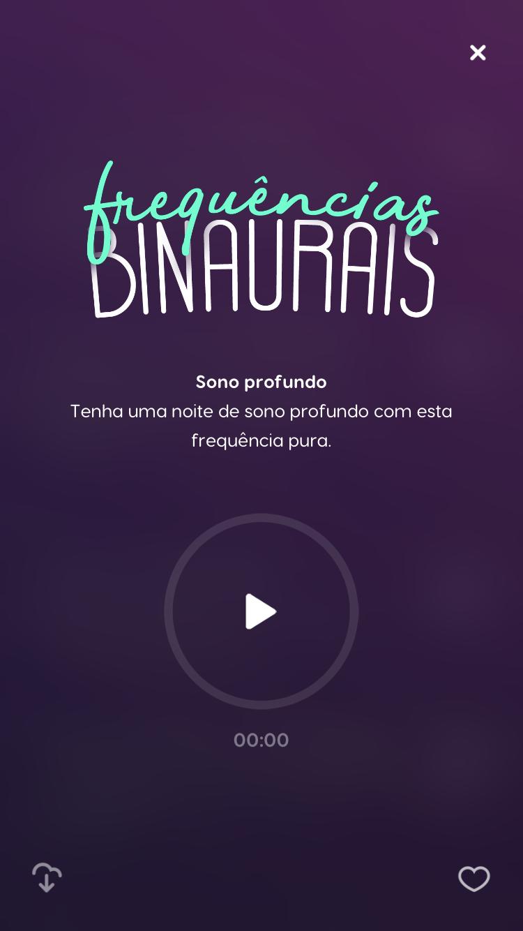 tela das frequências binaurais do zen app para sono profundo