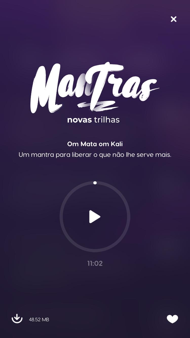 tela do pacote de mantras para meditação do zen app