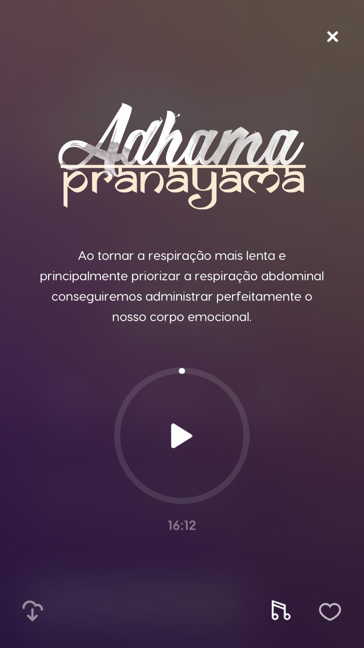 tela de uma das técnicas de meditação disponível no Zen app
