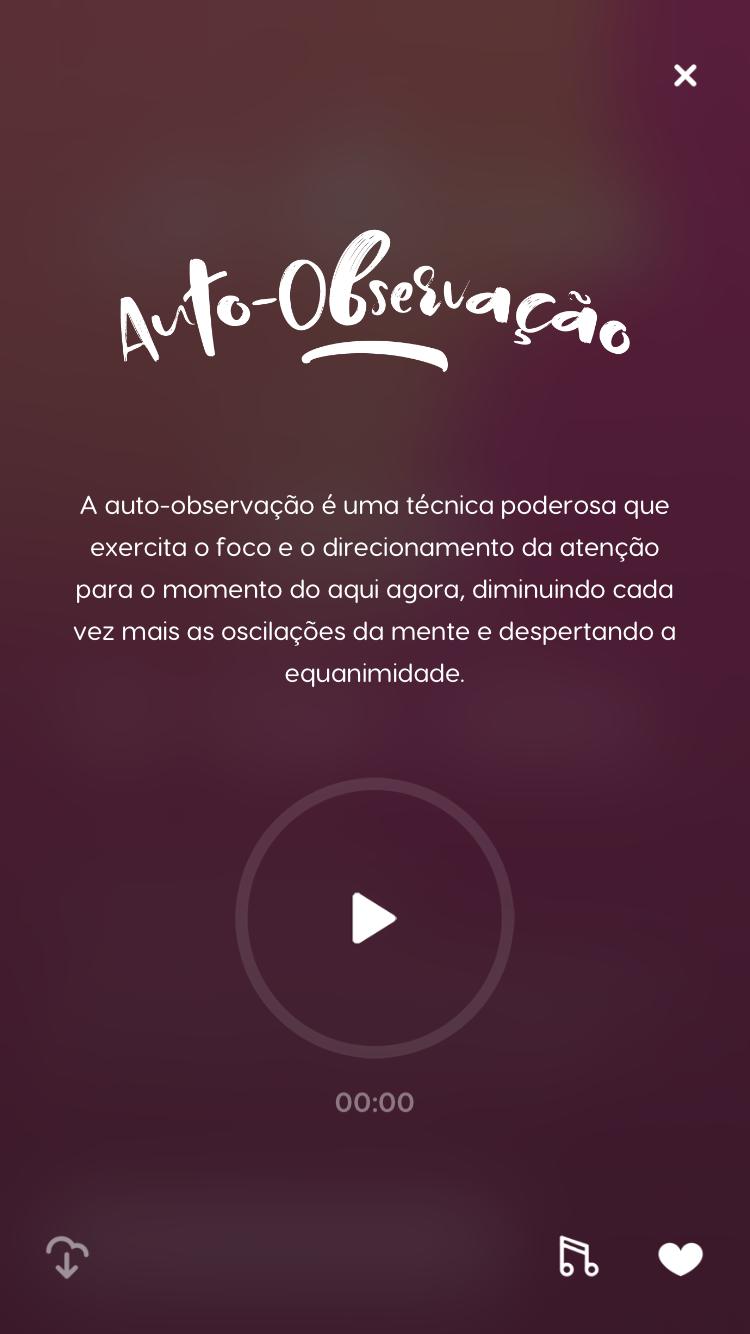 tela da meditação guiada para auto-observação do Zen app