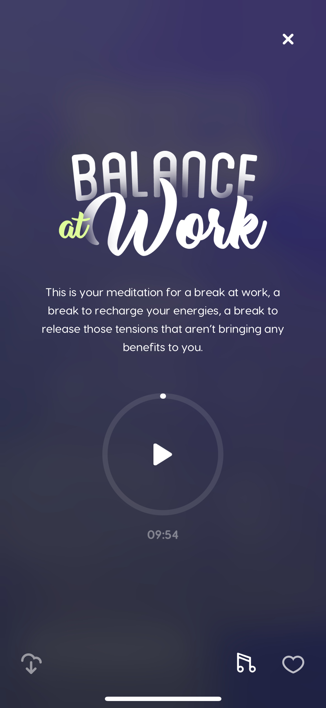 Balance at work meditation