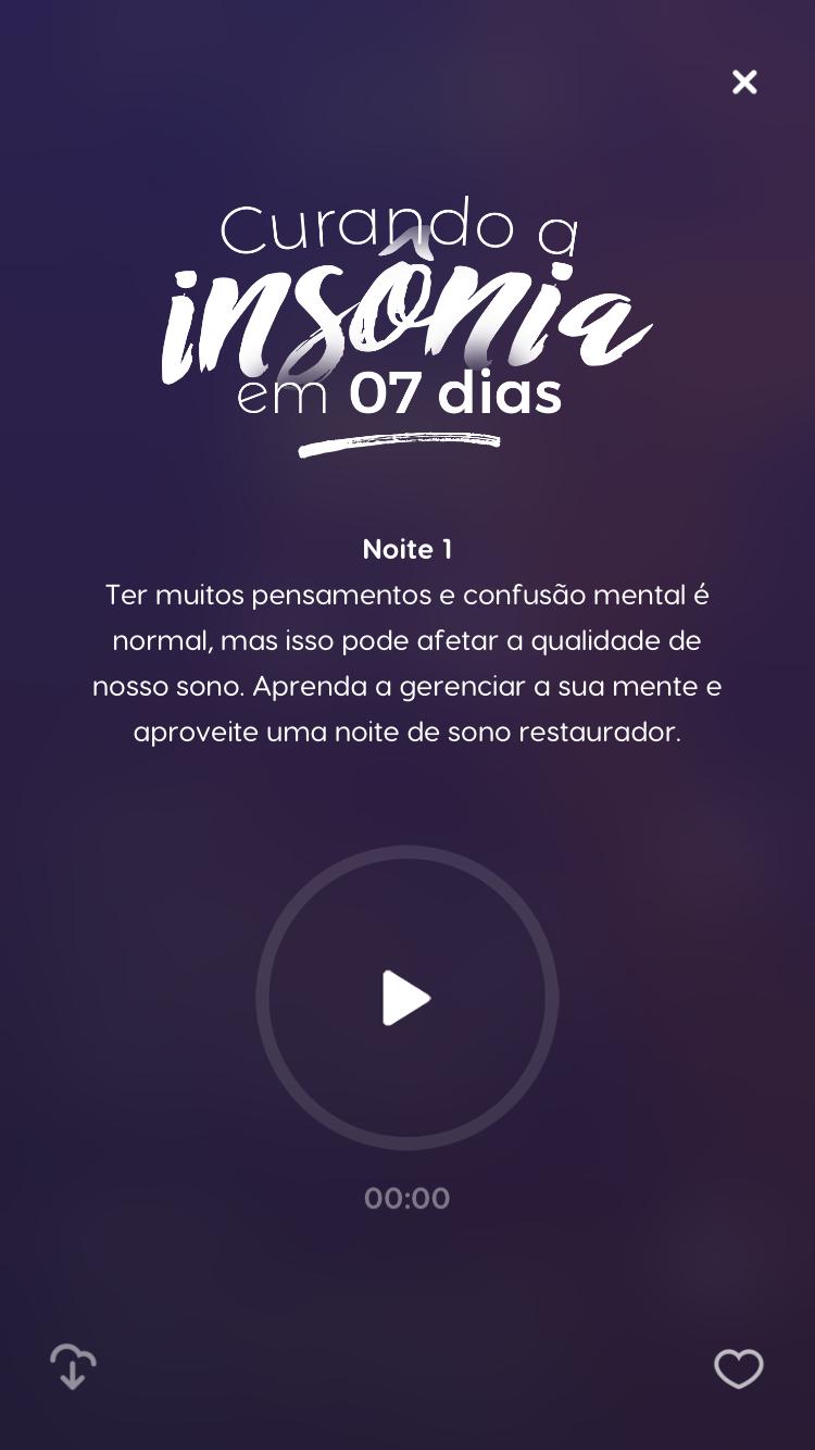 tela do programa de meditação para Curar a Insônia em 7 dias do melhor aplicativo de meditação, o Zen App