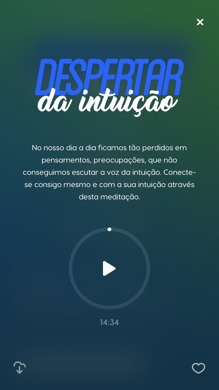 tela da meditação guiada Despertar da Intuição do Zen app