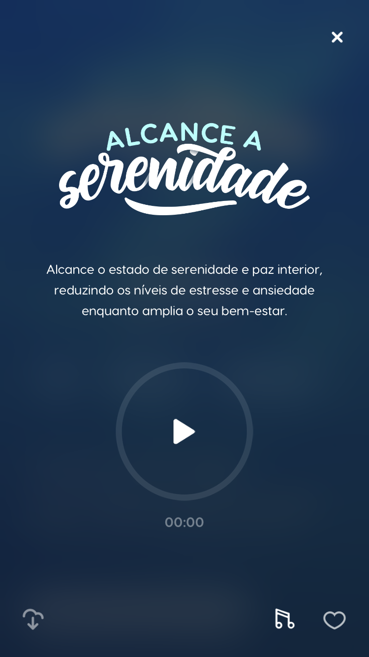 tela da meditação guiada Alcance a Serenidade, disponível no Zen app para a autorrealização