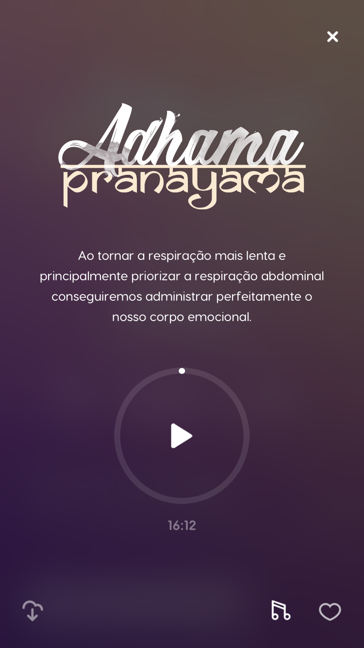 tela de uma das técnicas de meditação do Zen app, a Adhama Pranayama