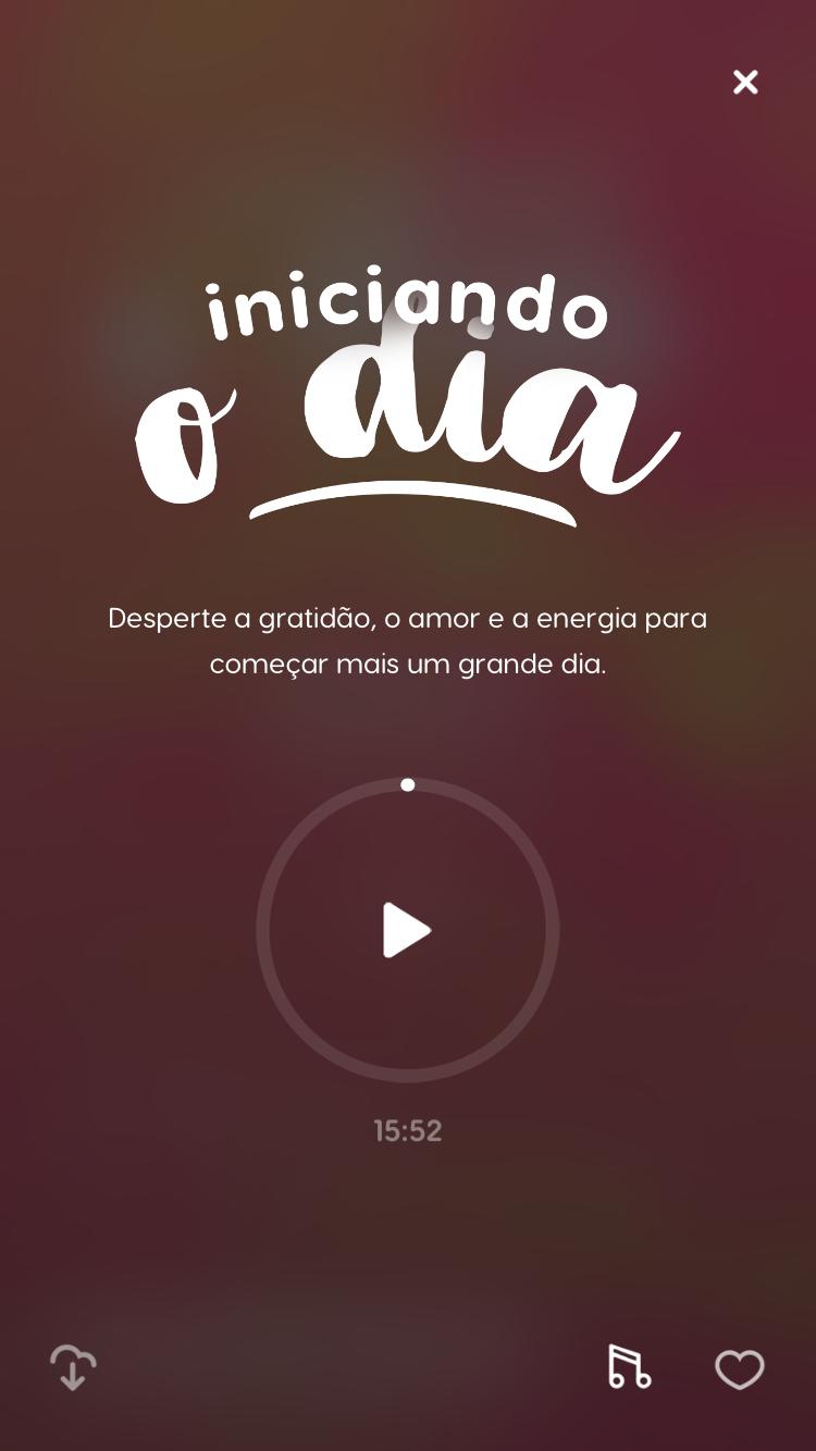 """tela da meditação guiada """"Iniciando o Dia"""" disponível no Zen app para aprender como começar a meditar sozinho"""