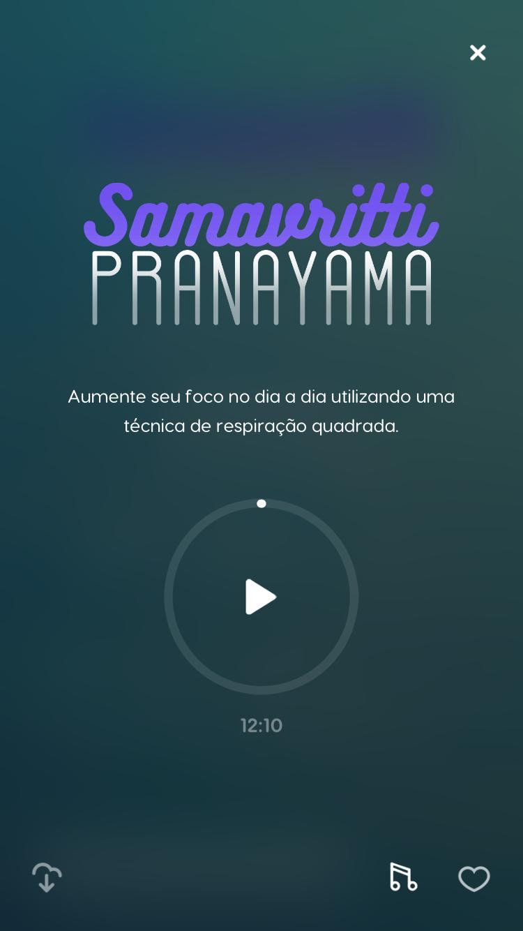 tela de uma das técnicas de meditação do Zen app, a Samavritti Pranayama