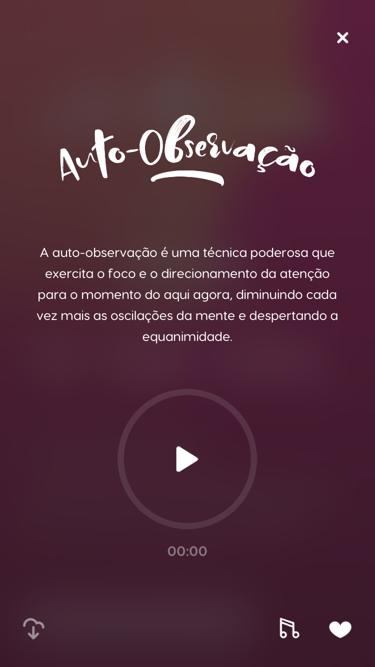 """tela da meditação guiada """"Auto-observação"""" disponível no Zen app"""