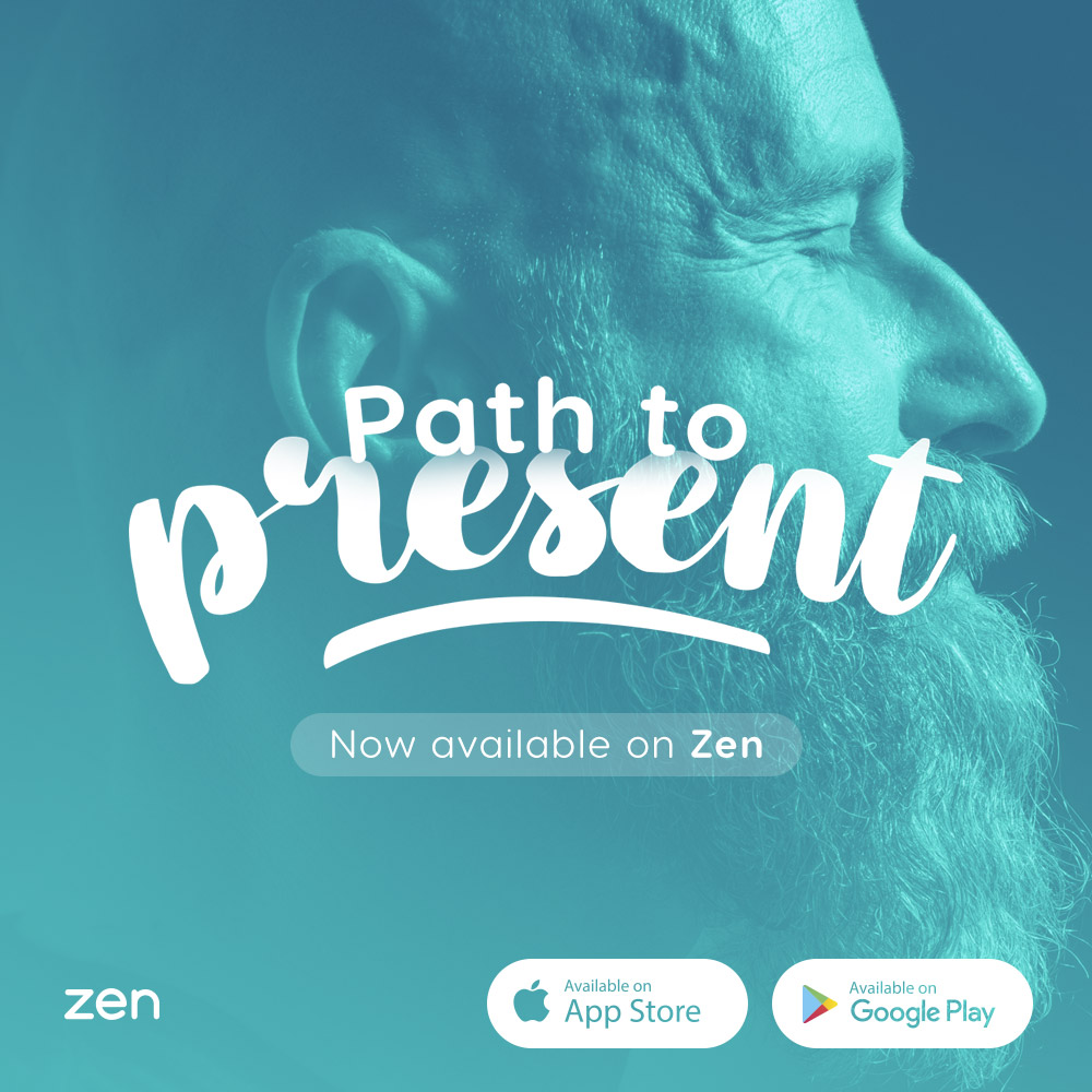 """tela da meditação para ansiedade e nervosismo do zen app """"Path to Present"""""""