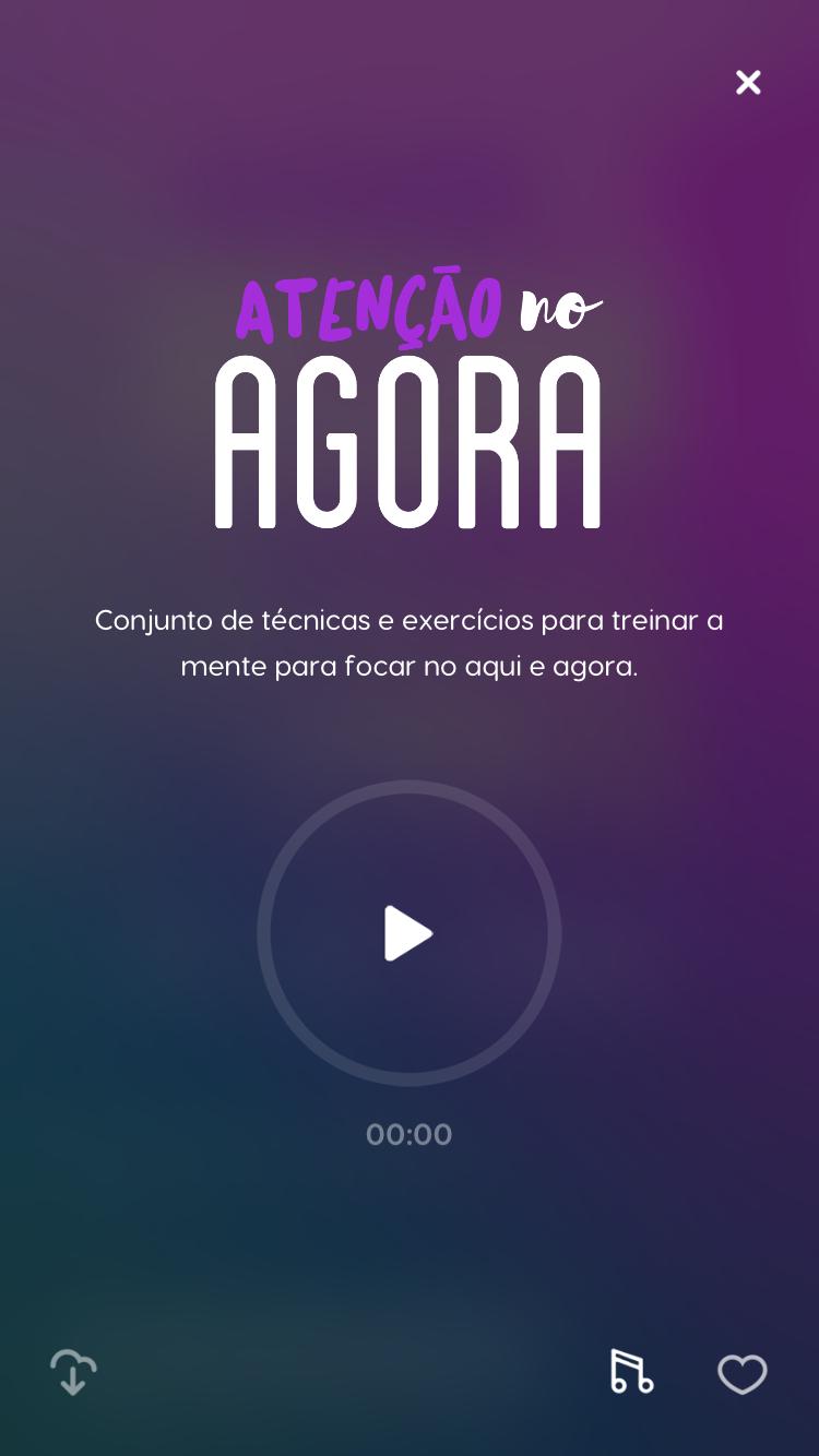 """tela da meditação guiada """"Atenção no Agora"""" do Zen app"""