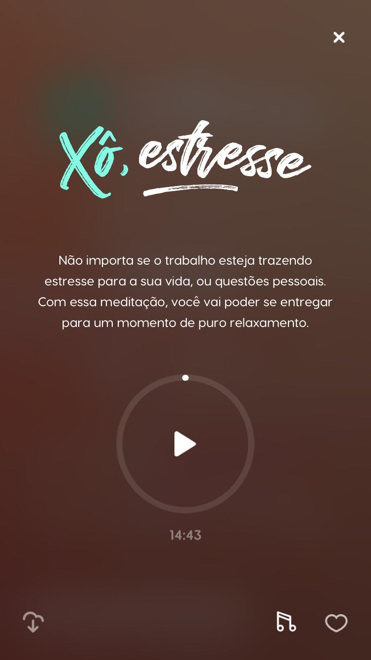"""tela da meditação guiada """"Xô, estresse"""" disponível no Zen app para praticar quando estiver estressada"""