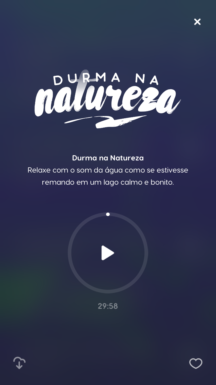 "tela da música relaxante ""Durma na Natureza"" do Zen app"
