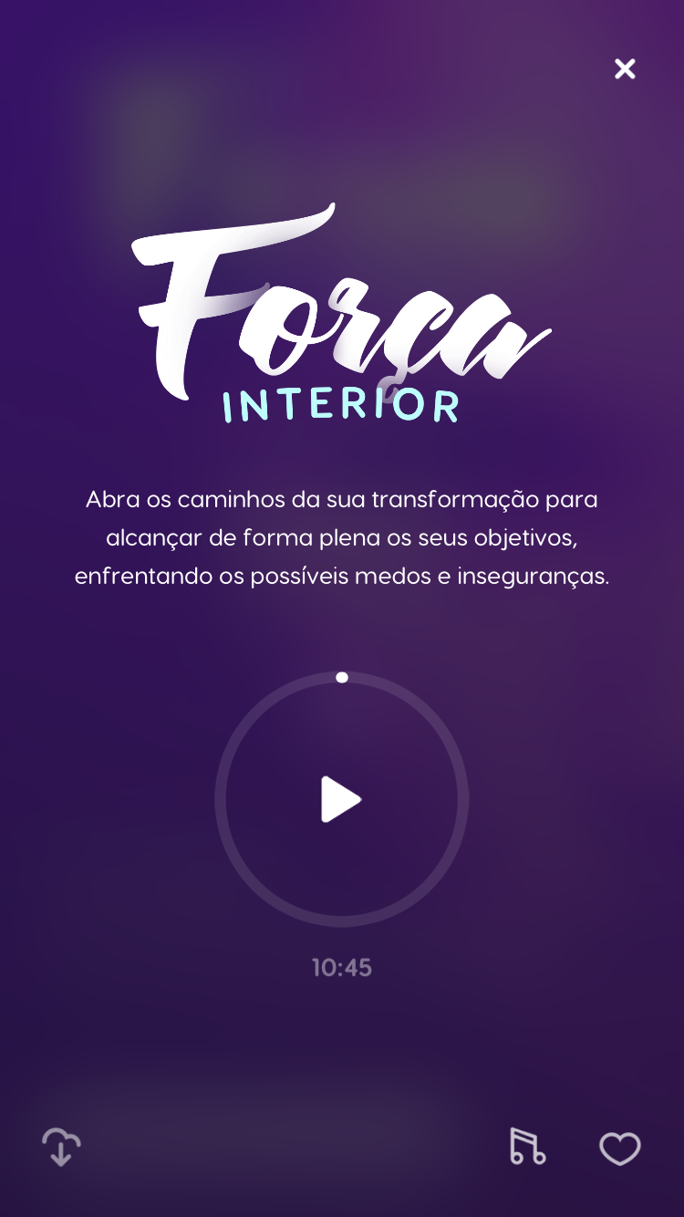 """tela da meditação guiada para autoconfiança """"Força Interior"""" disponível no Zen app"""
