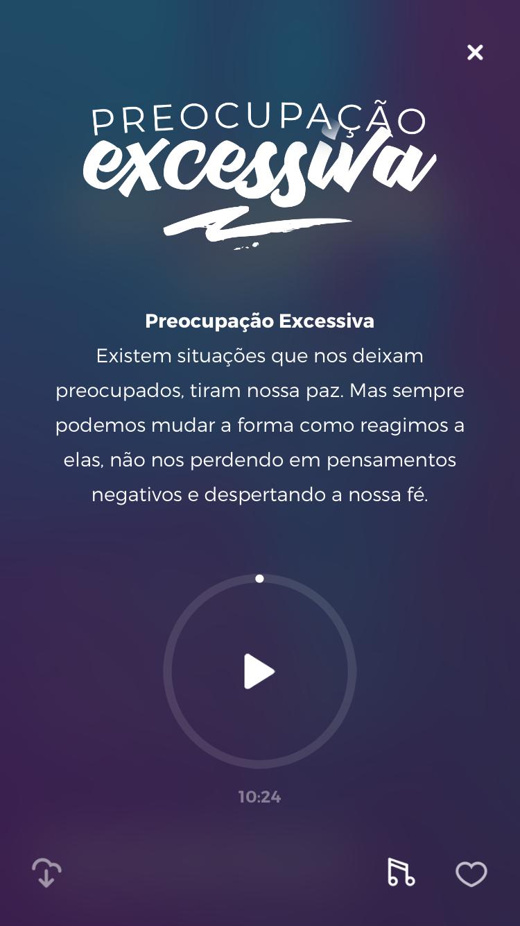 """tela da meditação guiada """"Preocupação Excessiva"""" do Zen app para ajudar a aliviar a ansiedade no trabalho"""