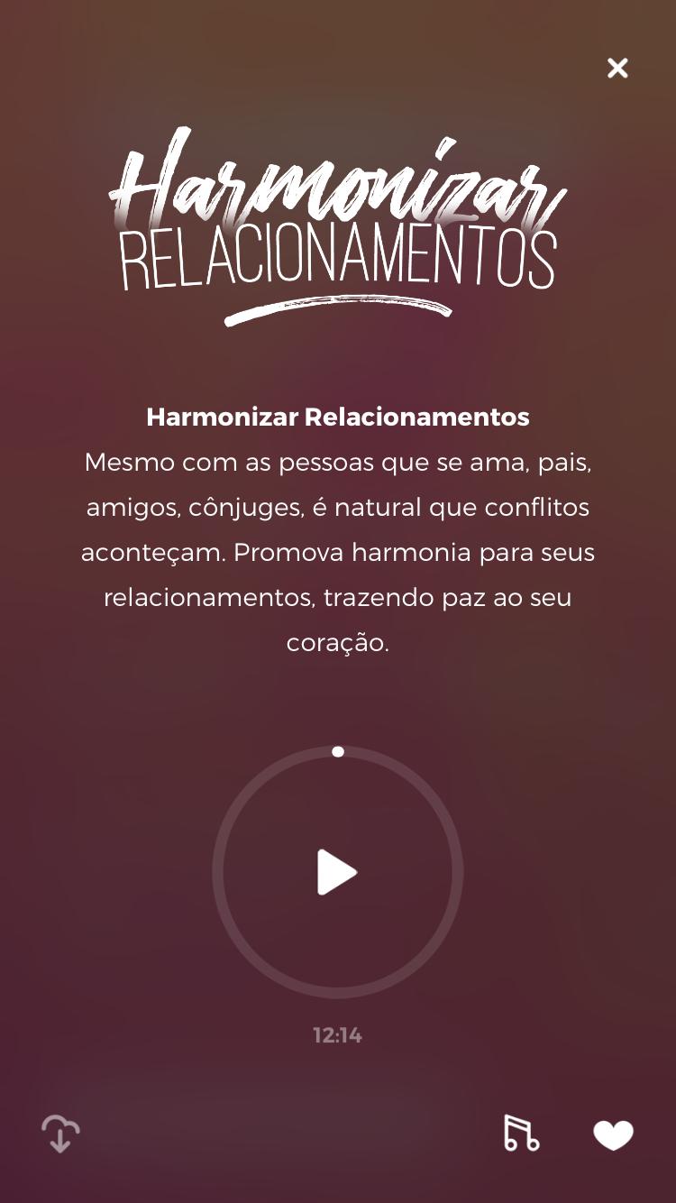 """tela da meditação guiada """"Harmonizar Relacionamentos"""" do Zen app para ajudar com a ansiedade e depressão"""