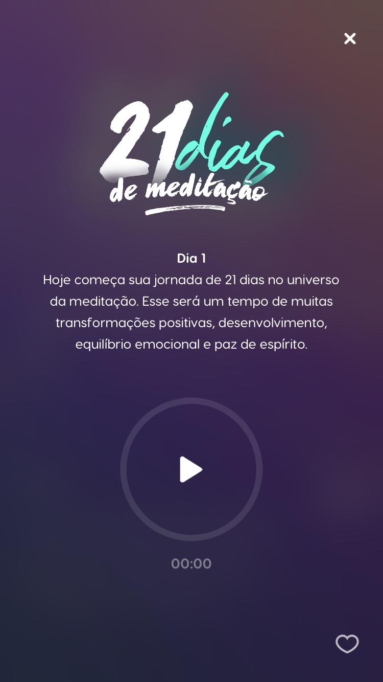 """tela da meditação guiada para iniciantes """"21 dias de Meditação"""""""