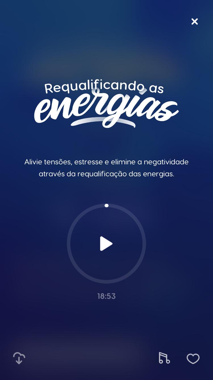 """tela da meditação guiada """"Requalificando as Energias"""" disponível no Zen para auxiliar no processo de autocuidado"""