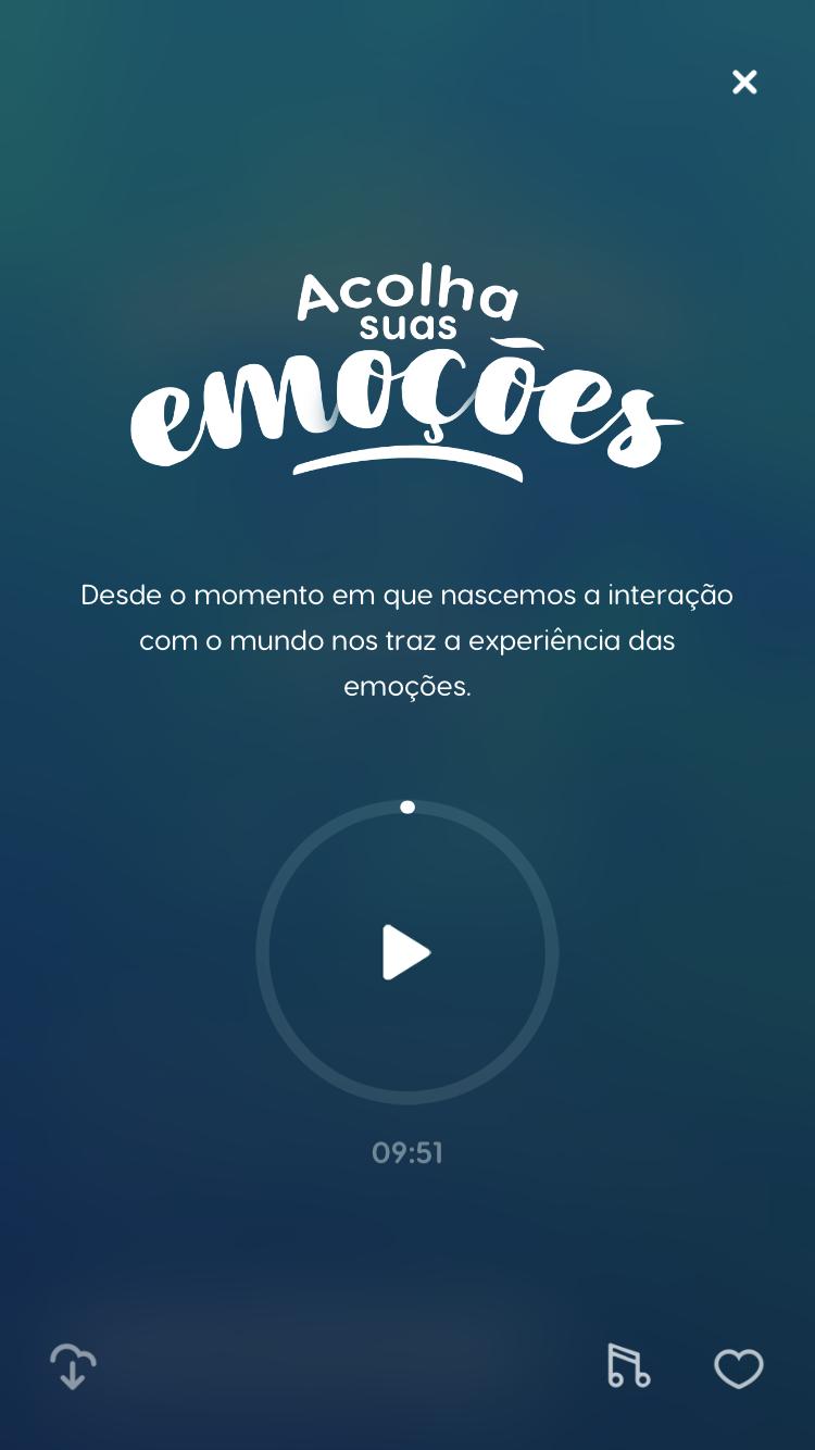 """tela da meditação guiada """"Acolha suas Emoções"""" para ajudar a ter mais qualidade de vida no trabalho"""