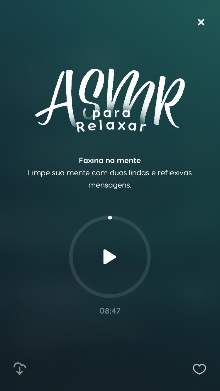 "tela do som ASMR para dormir ""Faxina na mente"" disponível no Zen app"