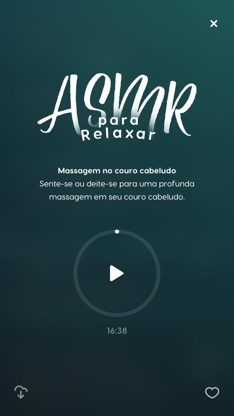 """tela do ASMR para dormir """"Massagem no Couro Cabeludo"""" disponível no Zen app"""