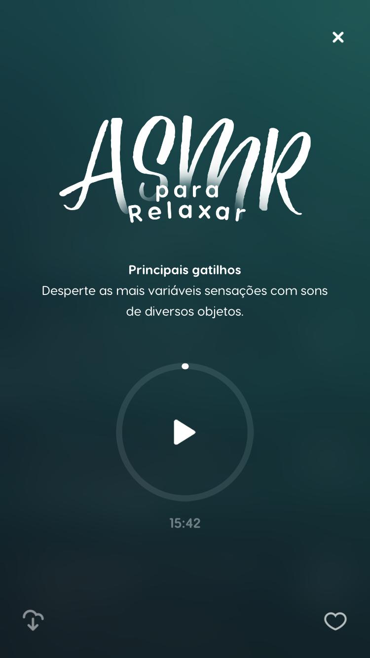 """tela do ASMR para dormir """"Principais Gatilhos"""" disponível no Zen app"""