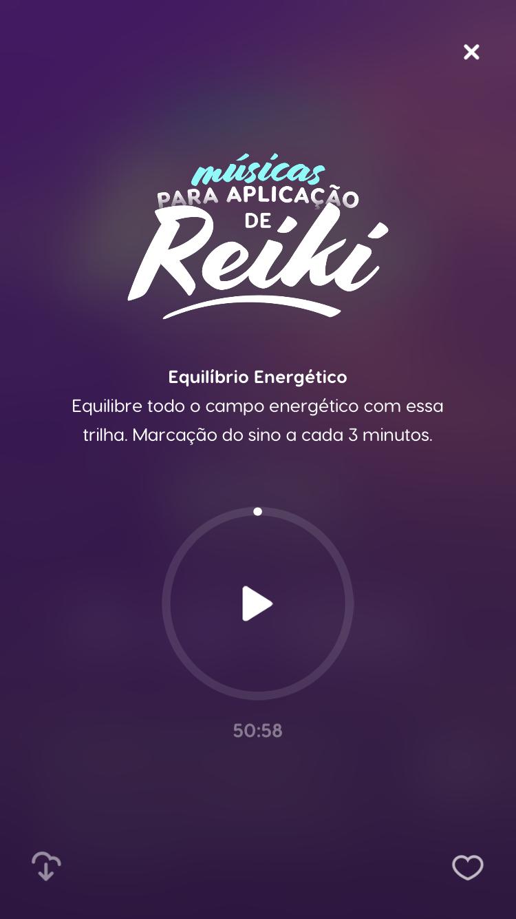 """tela das trilhas """"Músicas para aplicar Reiki"""" disponível no Zen"""
