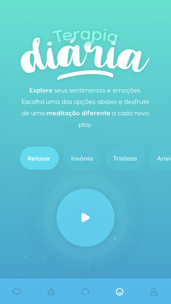 """tela da ferramenta de """"Terapia Diária"""" do Zen app com meditação para relaxar"""