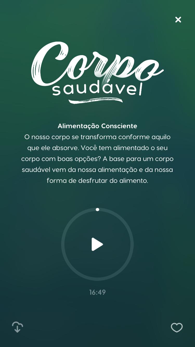 """tela da meditação guiada """"Corpo Saudável"""", disponível no Zen app para quem buscar conhecer mais sobre o mindful eating"""