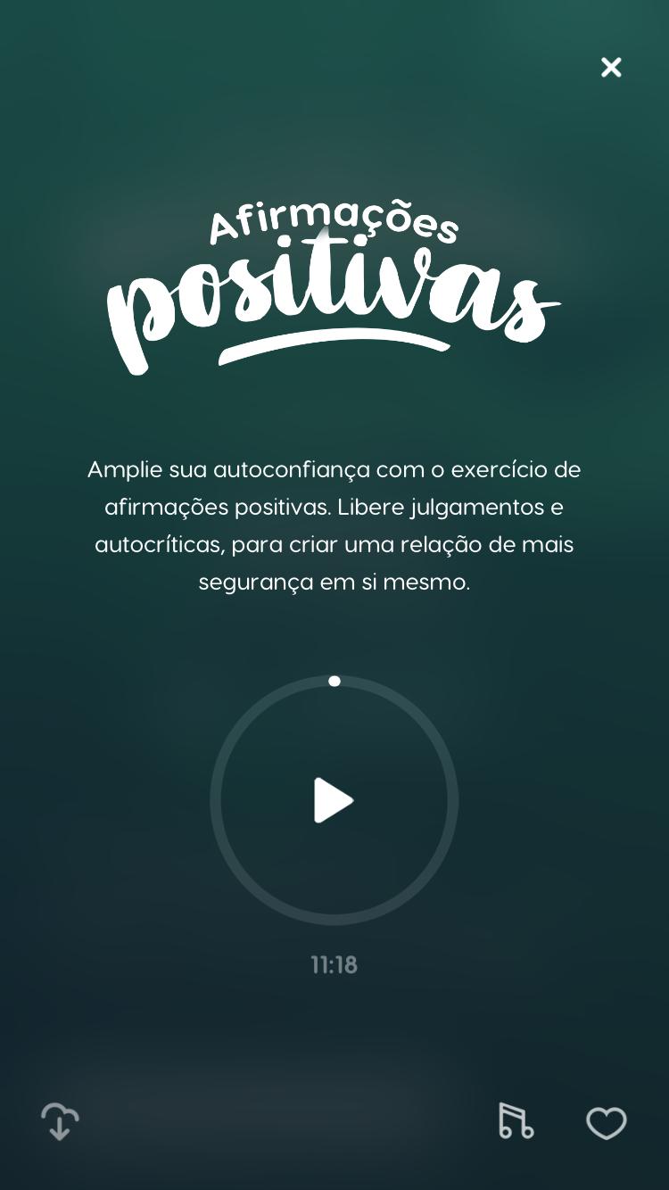 """tela da meditação guiada """"Afirmações Positivas"""" para melhorar o dia"""