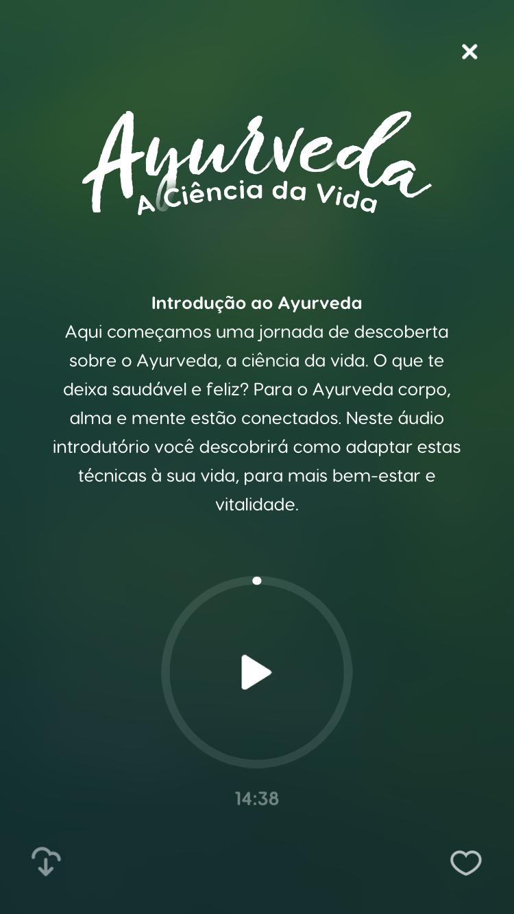"""tela da meditação guiada """"Ayurveda - A ciência da Vida"""" disponível no Zen app"""