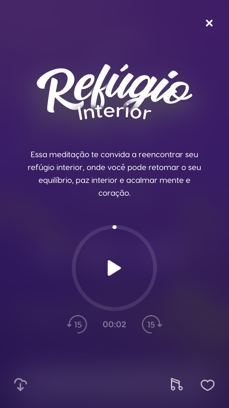 """tela da meditação guiada """"Refúgio Interior"""", disponível no Zen App para descobrir como lidar melhor com medo e ansiede"""